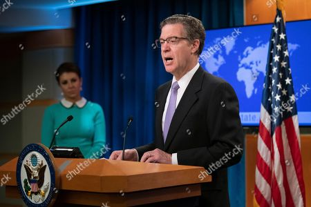 Sam Brownback, Morgan Ortagus. Ambassador at Large for International Religious Freedom Sam Brownback, speaks about the 2018 International Religious Freedom Annual Report at the Department of State in Washington, . State Department spokesperson Morgan Ortagus is left