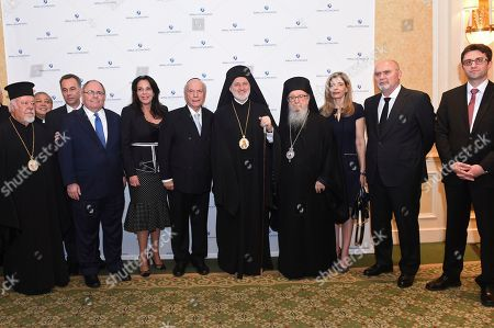 Left to right, Metropolitan Augoustinos of Germany, Archbishop Bernardito Auza, Consul General Konstantinos Koutras, Consul General Dani Dayan, Ambassador Katerina Nafplioti Panagopoulos, Rabbi Arthur Schneier, Archbishop Elpidophoros, Archbishop Demetrios, Ambassador Maria Theofili, Ambassador Feridun Sinirlioglu and Consul General Alper Aktas, attend an interfaith gathering to welcome Archbishop Elpidophoros, the new leader of the Greek Orthodox Archdiocese of America, to New York, hosted by the Appeal of Conscience Foundation