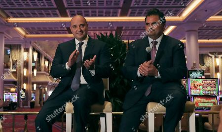 Matthew Maddox, Carlo DeMaria. Wynn Resorts CEO Matthew Maddox, left, applauds while seated near the casino floor with Everett, Mass., Mayor Carlo DeMaria, right, at the Encore Boston Harbor casino in Everett, Mass., . The Wynn Resorts casino is scheduled to open to officially open to the public on Sunday, June 23rd