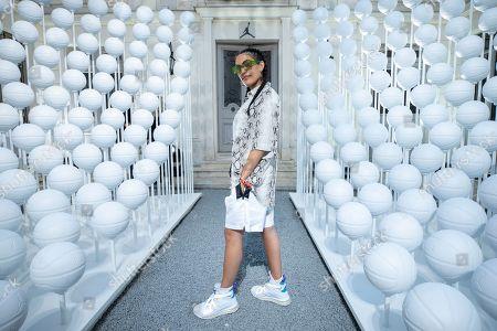 Jordan Brand Family Member, Melody Ehsani, arrives at the House of Jumpman, in Paris