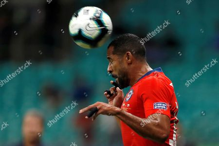 Jean Beausejour of Chile in action during the Copa America 2019 Group C soccer match between Ecuador and Chile at the Arena Fonte Nova Stadium in Salvador, Brazil, 21 June 2019.