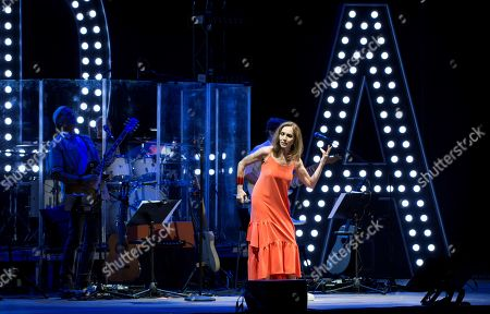 Stock Image of Ana Belen performs on stage during her 'Botanist Nights' Festival concert played at the University City in Madrid, Spain, 21 June 2019.