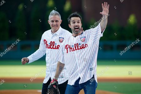 "Chase Utley, Rob McElhenney. Actor Rob McElhenney, right, one of the creators of ""It's Always Sunny in Philadelphia,"" reacts after catching a ceremonial first pitch from former Philadelphia Phillies player Chase Utley before a baseball game between the Phillies and the Miami Marlins, in Philadelphia"
