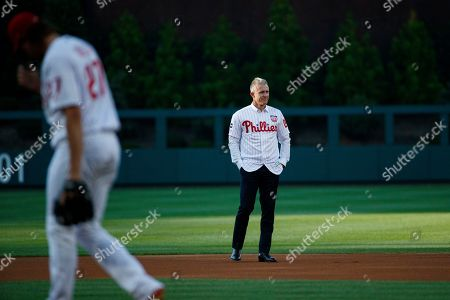 Former Philadelphia Phillies' Chase Utley reacts during a retirement ceremony before a baseball game between the Philadelphia Phillies and the Miami Marlins, in Philadelphia. Miami won 2-1