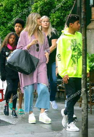 Stock Image of Heidi Klum with children Lou Sulola Samuel and Henry Samuel