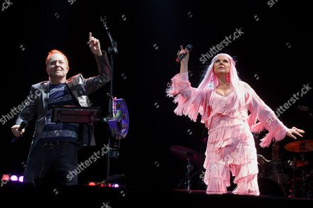 Members of the US rock band 'The B52s' Fred Schneider (L) and Cindy Wilson (R) perform on stage during their concert at the Azkena Rock Festival in Vitoria, Basque Country, Spain, 21 June 2019.