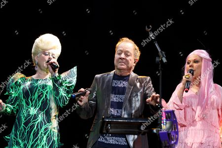 US band 'The B52s' members Kate Pierson, Fred Schneider and Cindy Wilson perform on stage during their concert at the Azkena Rock Festival in Vitoria, Basque Country, Spain, 21 June 2019.