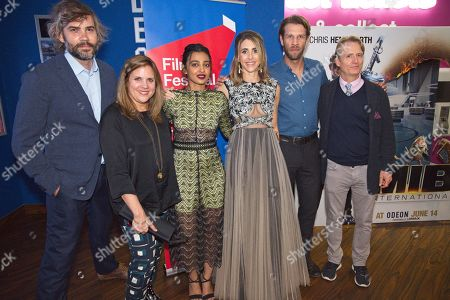 Left to right. Rossif Sutherland, Lydia Dean Pilcher, Radhika Apte, Sarah Megan Thomas, Marc Rissmann and Linus Roache