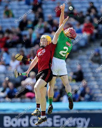 Down vs Meath. Down's Oisin McManus and Ger Murphy of Meath