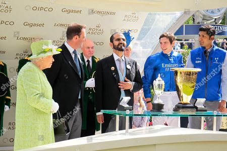 The Queen, Charlie Appleby , Sheikh Mohammed and James Doyle all smiles after Blue Point won the Commonwealth Cup at Royal Ascot.
