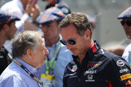 Jean Todt talks to Christian Horner on the grid during the Formula 1 Pirelli Grand Prix of France 2019 at Circuit Paul Ricard, Le Castellet