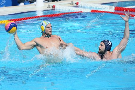 Stock Picture of Australia's Blake Edwards (L) in action against Serbia's Milos Cuk (R) during the Men's water polo semi-final match between Serbia and Australia at the Water Polo World League Men's Super Final in Belgrade, Serbia, 22 June 2019.