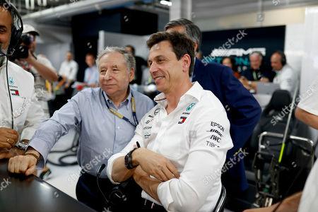 Motorsports: FIA Formula One World Championship 2019, Grand Prix of France,  Jean Todt (FRA, FIA President), Toto Wolff (AUT, Mercedes AMG Petronas Motorsport),
