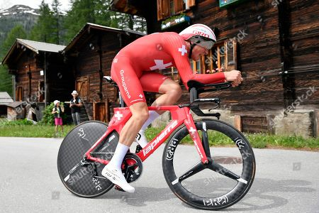 Stock Image of Swiss rider Stefan Kueng of the Groupama-FDJ team in action during the eigth stage of the 83rd Tour de Suisse UCI ProTour cycling race, an individual time trial over 19.2km in Goms, Switzerland, 22 June 2019.
