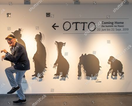 German comedian Otto Waalkes poses at the Kunsthalle Emden, in Emden, northern Germany, 22 June 2019. The museum is presenting artworks by Otto, who was born in Emden, from 22 June to 22 September 2019.