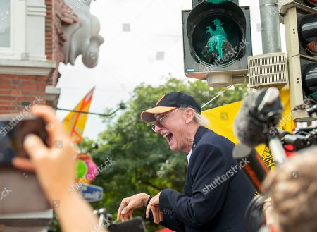 Otto Waalkes celebrates the opening of a pedestrian traffic light with his symbolic figure in Emden, northern Germany, 22 June 2019. Waalkes was born in Emden.