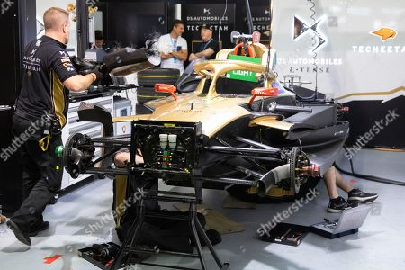 Mechanics work on the car of French Formula E driver Jean-Eric Vergne of the DS Techeetah Formula E Team before the Swiss E-Prix, the eleventh stage of the FIA Formula E championship in Bern, Switzerland, 22 June 2019.