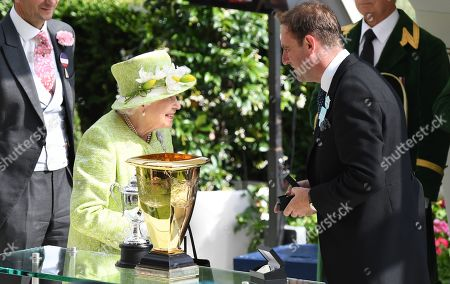 Britain's Elizabeth II presents trainer Charlie Appleby after Blue Point wins the Diamond Jubilee Stakes during the final day of Royal Ascot in Ascot, Britain, 22 June 2019. Royal Ascot is Britain's most valuable horse race meeting and social event running daily from 18 to 22 June 2019.