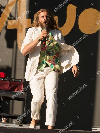 Stock Image of Aaron Bruno of the band AWOLNATION performs on Day 1 of the 2019 Firefly Music Festival at The Woodlands, in Dover, Del