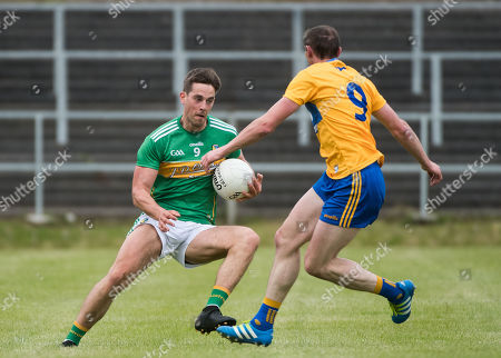 Leitrim vs Clare. Leitrim's Shane Moran and Cathal O'Connor of Clare