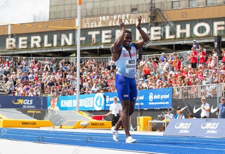 Harry Aikines-Aryeetey of Britain reacts during the 'Berlin Flies' athletics meeting at the Tempelhof airport in Berlin, Germany, 22 June 2019.