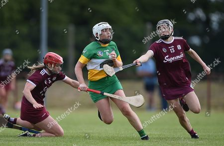 Stock Image of Offaly vs Galway. Offaly's Aisling Brennan with Teeny Cormican and Carrie Dolan of Galway