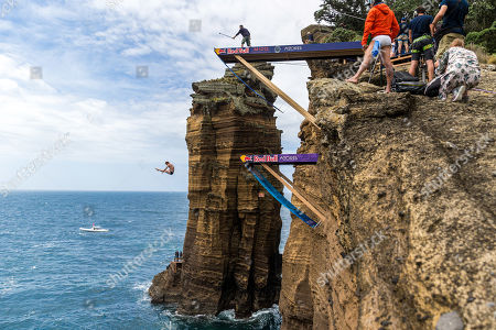US athlete Andy Jones in action during Vila Franco do Campo Red Bull Cliff Diving World Series held at Vila Franca do Campo, Sao Miguel Island, Azores, Portugal, 22 June 2019.
