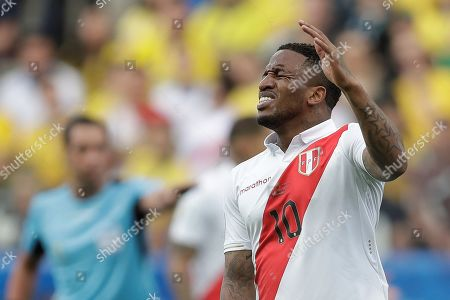Peru's Jefferson Farfan reacts during the Copa America 2019 Group A soccer match between Peru and Brazil, at Arena Corinthians Stadium in Sao Paulo, Brazil, 22 June 2019.