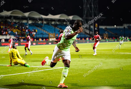 odion Jude Ighalo of Nigeria after scoring to 1-0 during the African Cup of Nations match between Nigeria and Burundi at the Alexandria Stadium in Alexandia, Egypt