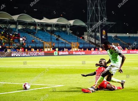 Ahmed Musa of Nigeria shooting on goal during the African Cup of Nations match between Nigeria and Burundi at the Alexandria Stadium in Alexandia, Egypt