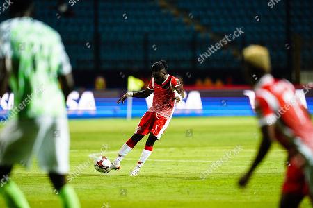 Gael Bigirimana of Burundi shooting on goal during the African Cup of Nations match between Nigeria and Burundi at the Alexandria Stadium in Alexandia, Egypt