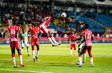 Gael Bigirimana of Burundi heading the ball away during the African Cup of Nations match between Nigeria and Burundi at the Alexandria Stadium in Alexandia, Egypt