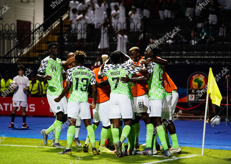 odion Jude Ighalo of Nigeria celebrating scroing to 1-0 during the African Cup of Nations match between Nigeria and Burundi at the Alexandria Stadium in Alexandia, Egypt