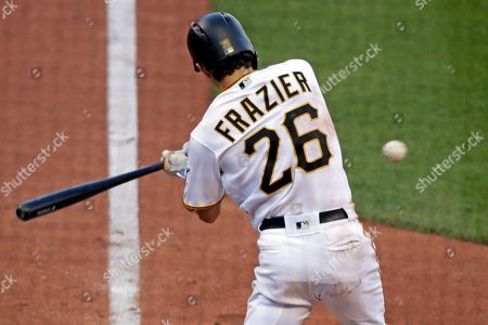 Pittsburgh Pirates' Adam Frazier drives in two runs with an RBI single off San Diego Padres relief pitcher Craig Stammen during the eighth inning of the team's baseball game in Pittsburgh, . The Pirates won 6-3