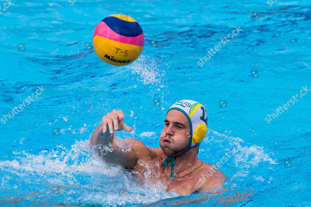 Blake Edwards of Australia  passes the ball