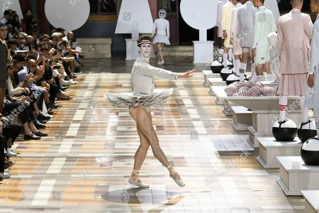 Stock Picture of James Whiteside, principal dancer of the America Ballet Theater on the catwalk