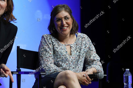 """Mayim Bialik speaks at the AT&T's SHAPE: """"The Scully Effect is Real"""" panel with Geena Davis and Mayim Bialik on in Burbank, Calif"""