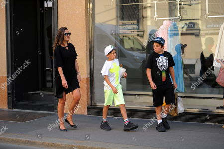 Editorial photo of Alena Seredova and children Louis Thomas and David Lee out and about, Milan,,Italy - 20 Jun 2019