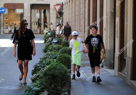 Stock Photo of Alena Seredova with her children Louis Thomas of 11 and David Lee of 9 to go shopping.