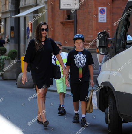 Stock Picture of Alena Seredova with her children Louis Thomas of 11 and David Lee of 9 to go shopping.