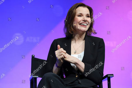 """Geena Davis speaks at the AT&T's SHAPE: """"The Scully Effect is Real"""" panel with Geena Davis and Mayim Bialik on in Burbank, Calif"""