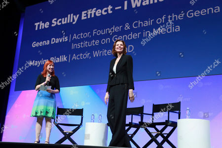 """Erin Macdonald, Geena Davis. Erin Macdonald and Geena Davis speak at the AT&T's SHAPE: """"The Scully Effect is Real"""" panel with Geena Davis and Mayim Bialik on in Burbank, Calif"""