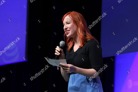 """Erin Macdonald speaks at the AT&T's SHAPE: """"The Scully Effect is Real"""" panel with Geena Davis and Mayim Bialik on in Burbank, Calif"""