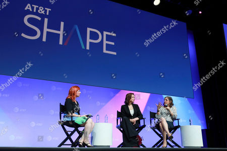 """Stock Image of Erin Macdonald, Geena Davis, Mayim Bialik. Erin Macdonald, from left, Geena Davis, Mayim Bialik speak at the AT&T's SHAPE: """"The Scully Effect is Real"""" panel with Geena Davis and Mayim Bialik on in Burbank, Calif"""