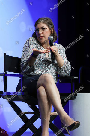 """Stock Photo of Mayim Bialik speaks at the AT&T's SHAPE: """"The Scully Effect is Real"""" panel with Geena Davis and Mayim Bialik on in Burbank, Calif"""