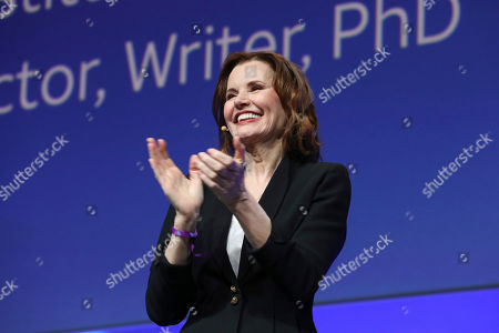 """Stock Picture of Geena Davis speaks at the AT&T's SHAPE: """"The Scully Effect is Real"""" panel with Geena Davis and Mayim Bialik on in Burbank, Calif"""
