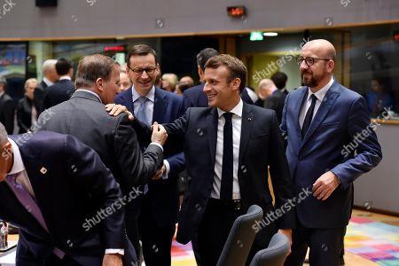 Stock Image of Denmark's Prime Minister Lars Lokke Rasmussen, Poland's Prime Minister Mateusz Morawiecki, French President Emmanuel Macron and Belgium's Prime Minister Charles Michel