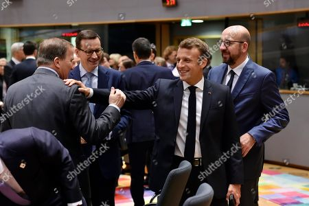 Stock Picture of Denmark's Prime Minister Lars Lokke Rasmussen, Poland's Prime Minister Mateusz Morawiecki, French President Emmanuel Macron and Belgium's Prime Minister Charles Michel