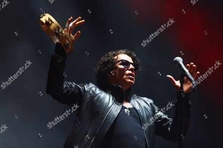Stock Image of Singer of the British hard rock band 'The Cult' Ian Astbury performs on stage during their concert at the Azkena Rock Festival in Vitoria, Basque Country, Spain, 22 June 2019.