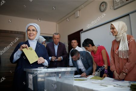 Emine Gulbaran wife of Turkey's President Recep Tayyip Erdogan casts her ballot at a polling station in Istanbul,. Polls have opened in a repeat election in Turkey's largest city where Erdogan and his political allies could lose control of Istanbul's administration for the first time in 25 years